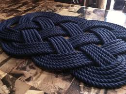 Navy Bath Mat Nautical Bathmat Handmade Rug Navy Blue Rug Woven Rope Rug