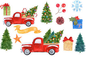 safari truck clipart watercolor christmas truck clipart by v design bundles