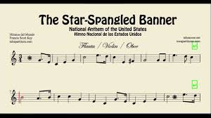 united states national anthem of the united states sheet music for flute violin
