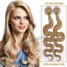 Long Blonde Wavy Hair Extensions by Inch 24 Ash Blonde Wavy Micro Loop Human Hair Extensions 100s