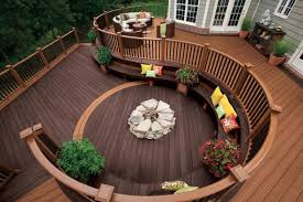 ideas for outdoor flooring in patio with wood deck railing designs
