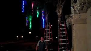 putting the led lights on our palm trees youtube