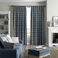 plaid navy curtains