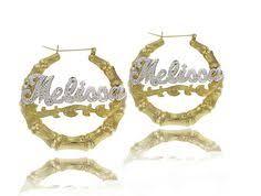 Gold Name Earrings Sterling Silver Large Bamboo Name Earrings Door Knocker Earrings
