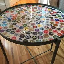 beer cap table top bottle cap table with poured resin surface
