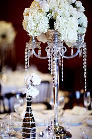 Wedding Centerpieces With Crystals by Silver Candelabra Centerpiece With White Hydrangea And Roses