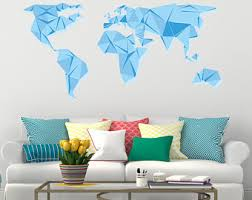 Map Home Decor Light Blue World Map Etsy