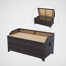 outdoor wicker storage cabinet outsunny rattan storage cabinet cushion box chest bench patio weave