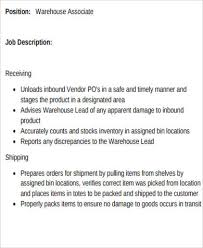 Shipping And Receiving Resume Objective Examples by Warehouse Associate Job Description 2 10 Typical Job Description