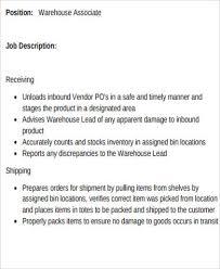 Resume Samples For Warehouse Jobs by Warehouse Associate Job Description 2 10 Typical Job Description