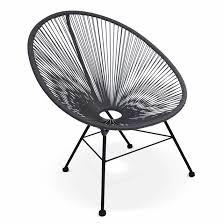 acapulco chaise fauteuil acapulco chaise oeuf design rétro cordage gris gris s