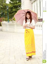 Thai Dressing And Umbrella With Traditional Style Royalty