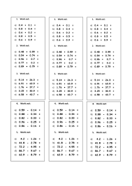 addition and subtraction worksheets for grade adding and subtracting decimals by rhiannonwates teaching