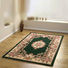 Chinese Aubusson Rugs Pure Wool Chinese Handcrafted Aubusson Rugs In Bottle Green