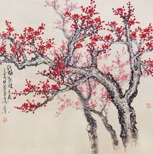 cherry blossom tree cherry blossom tree painting original painting chinese art
