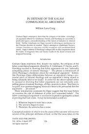 in defense of the kalam cosmological argument william lane craig