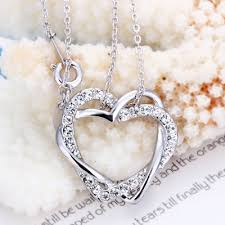 heart rhinestone necklace images Fine rhinestone crystal double heart necklace with 18k white gold jpg
