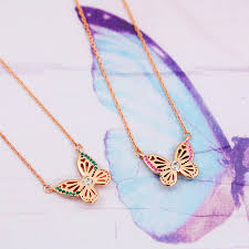 necklace butterfly images Rose gold butterfly birthstone necklace by j s jewellery jpg