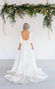modern simple long sleeve a line satin wedding dress with open