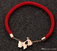 rose gold rope bracelet images Red rope bracelet rose gold three drill dog gnaw bones red hand jpg
