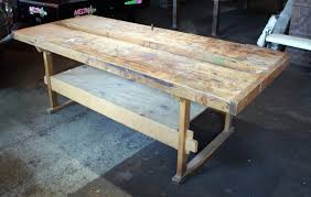 large butcher block top work table salvage one