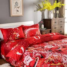 red christmas santa bedding 3d printed duvet cover 2pcs