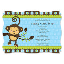 theme invitations blue monkey boy personalized baby shower invitations