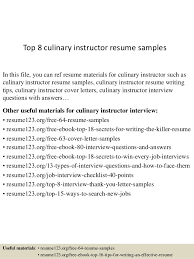 Culinary Resume Examples by Top 8 Culinary Instructor Resume Samples 1 638 Jpg Cb U003d1437642437