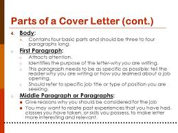 parts of cover letter planning for your career ppt