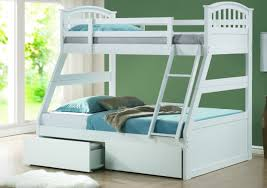 Wood Furniture Design Bed 2015 White Oak Bunk Bed With Ladder And Drawers On Gray Wooden Floor