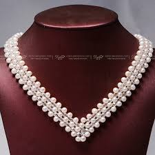 pearl necklace wedding images Daimi 4 5mm natural freshwater pearl crystal v choker necklace jpg