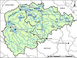 Map Of The Mississippi River Tippecanoe Watershed Map Land Lakes Rivers Kosciusko Noble Whitley