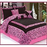 Pink Zebra Comforter Amazon Com 7pc Full Queen Faux Silk And Flocking Printing Black