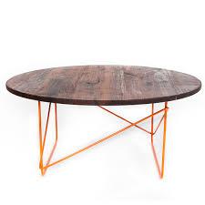 black walnut round coffee table orange sean woolsey art