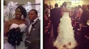 bride attaches baby to wedding gown train thegrio