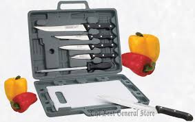 6pc knife set with cutting board u0026 case camping kitchen rv ct82