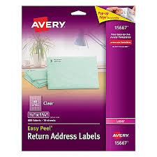 avery easy peel permanent laser return address labels 12 x 1 34
