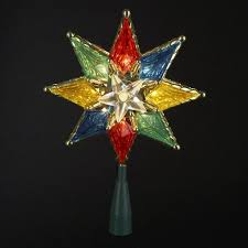 8 lighted clear 8 point tree topper multi lights