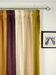 Yellow Faux Silk Curtains Silver Bold Stripe Pinch Pleat Faux Silk Curtains