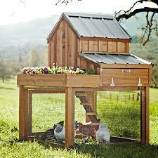 cedar chicken coop and run with garden planter the green head