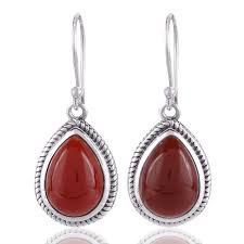 silver earring onyx gemstone and 925 sterling silver dangling earring