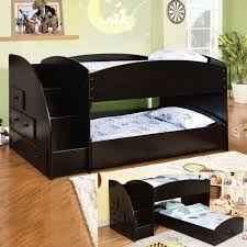 Black Wooden Bunk Beds Bed Bath Black Wood Loft Bunk Beds With Ladder And Drawer For