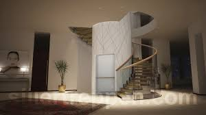 Architectural Stairs Design Helical Staircase Wooden Steps Metal Frame Without Risers