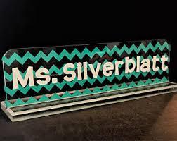 Chevron Desk Accessories Teacher Name Sign Desk Sign Teacher Gift Hand Painted