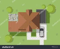 top view country house courtyard lawn stock vector 674471434