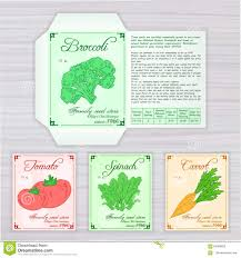 vector printable template of seed packet with image name and
