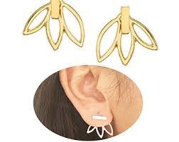 gold back earrings front back earrings etsy