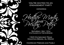 black and white damask engagement party invitation