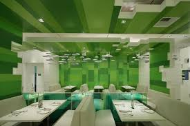 resturant design restaurant with green blocks interior theme