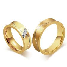 plain gold wedding bands fashion 18k gold rings for men women smooth design